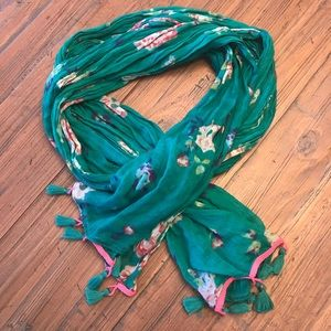 American Eagle Outfitters teal floral scarf